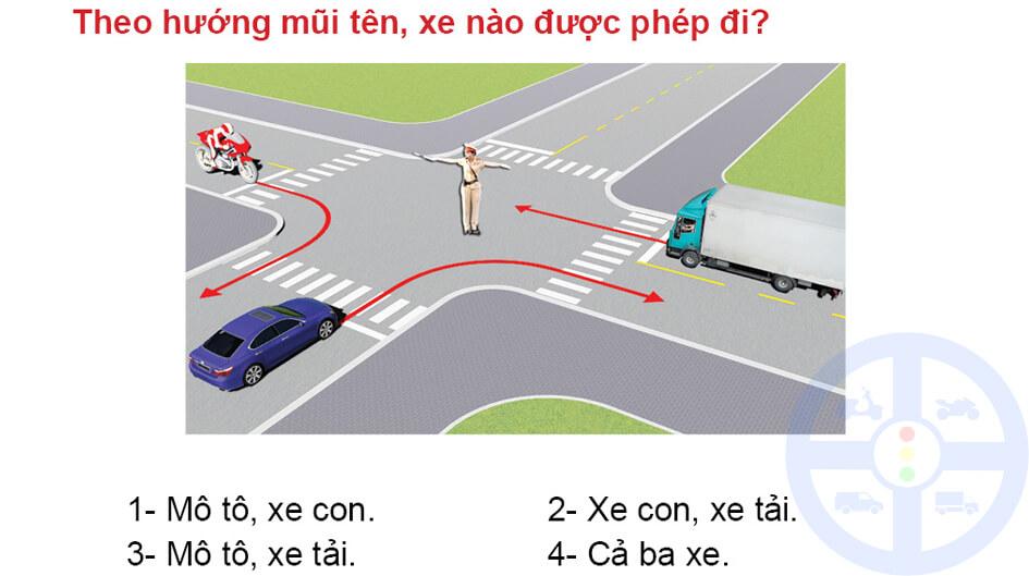 Theo hướng mũi tên, xe nào được phép đi?