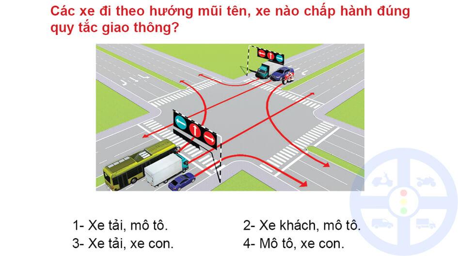 Các xe đi theo hướng mũi tên, xe nào chấp hành đúng quy tắc giao thông?