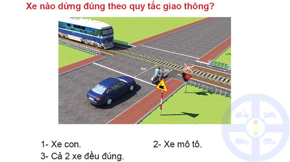 Xe nào dừng đúng theo quy tắc giao thông?