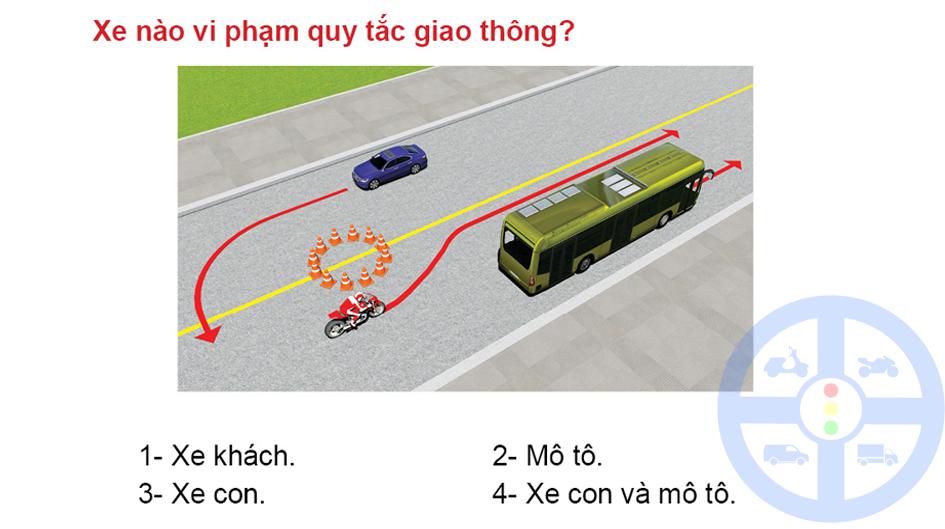 Xe nào vi phạm quy tắc giao thông?