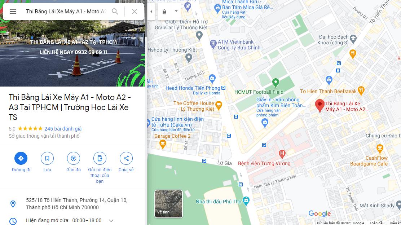 Bản đồ chỉ đường tới địa điểm đăng ký bằng lái xe trên google map